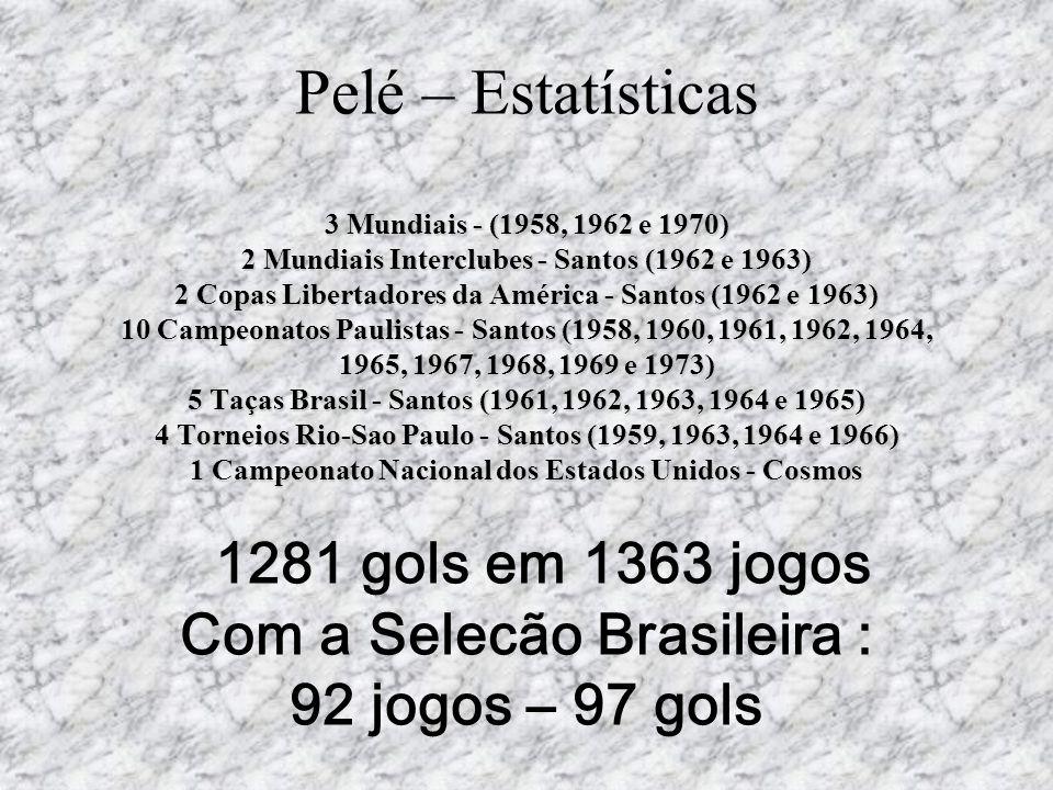 3 Mundiais - (1958, 1962 e 1970) 2 Mundiais Interclubes - Santos (1962 e 1963) 2 Copas Libertadores da América - Santos (1962 e 1963) 10 Campeonatos P
