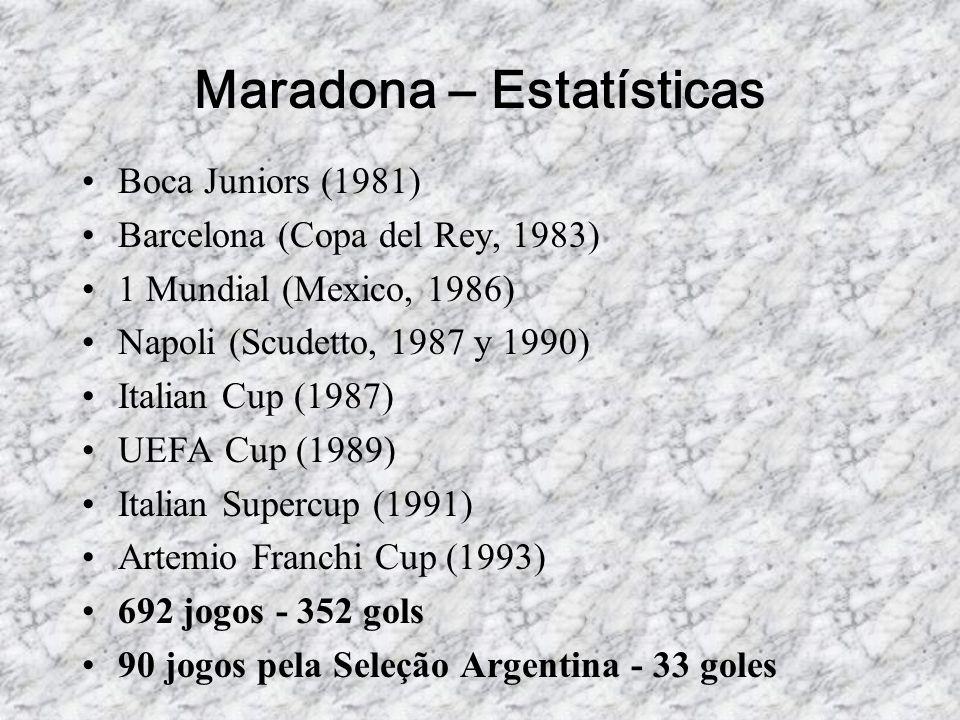 Maradona – Estatísticas •Boca Juniors (1981) •Barcelona (Copa del Rey, 1983) •1 Mundial (Mexico, 1986) •Napoli (Scudetto, 1987 y 1990) •Italian Cup (1