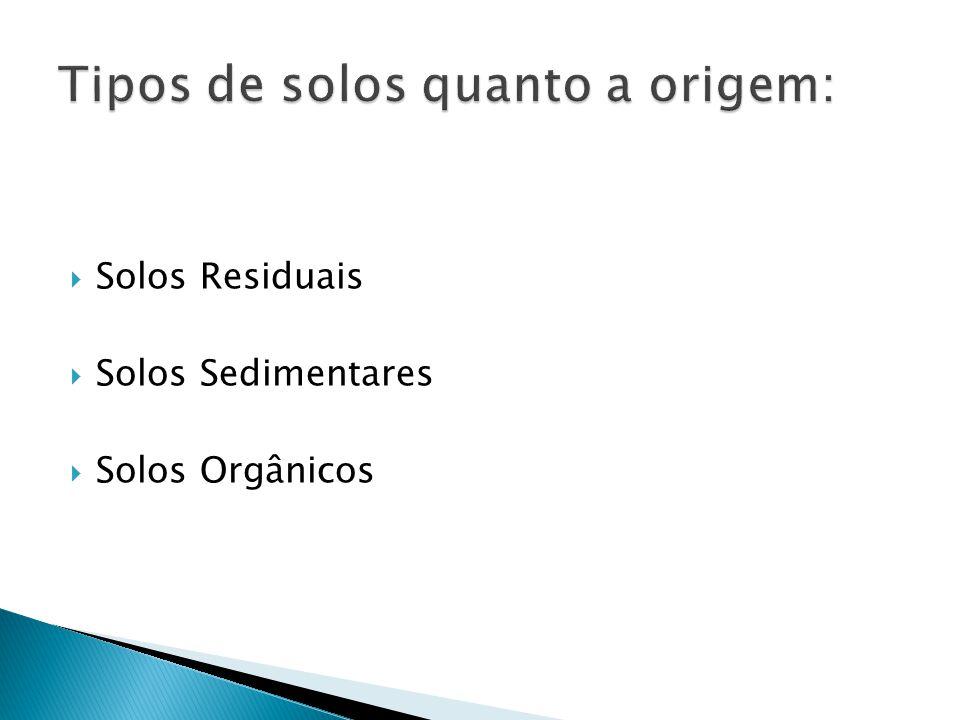  Solos Residuais  Solos Sedimentares  Solos Orgânicos