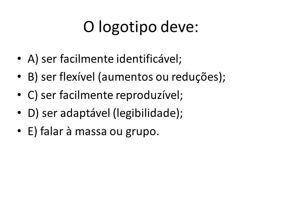 O logotipo deve: • A) ser facilmente identificável; • B) ser flexível (aumentos ou reduções); • C) ser facilmente reproduzível; • D) ser adaptável (le