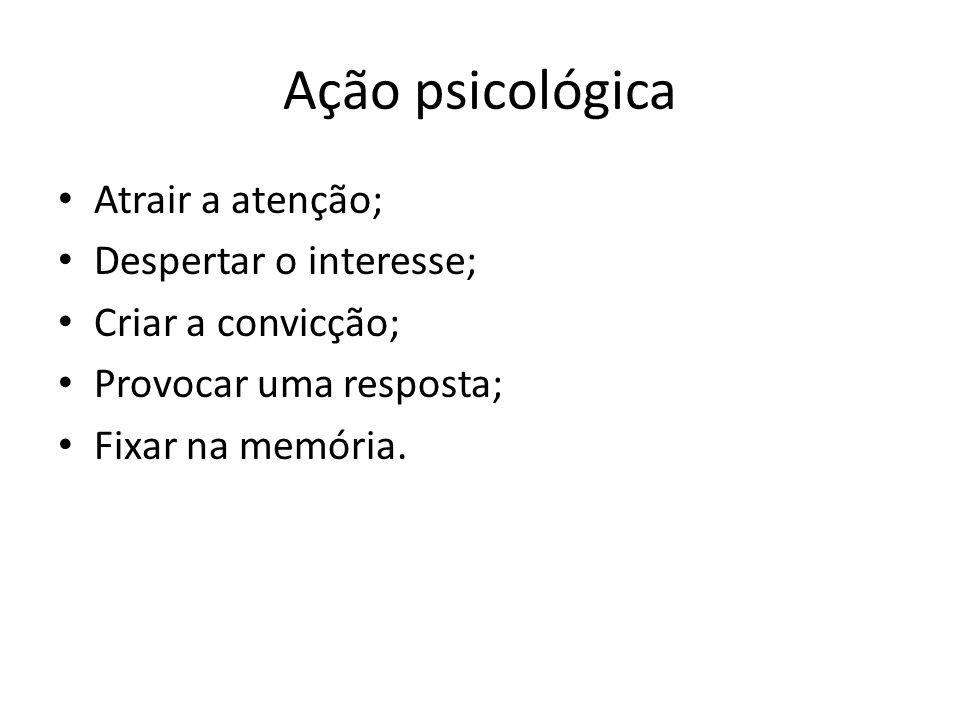 Ação psicológica • Atrair a atenção; • Despertar o interesse; • Criar a convicção; • Provocar uma resposta; • Fixar na memória.