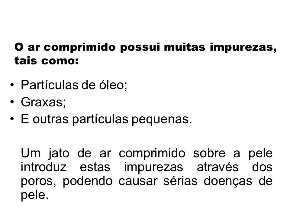 O ar comprimido possui muitas impurezas, tais como: •Partículas de óleo; •Graxas; •E outras partículas pequenas.