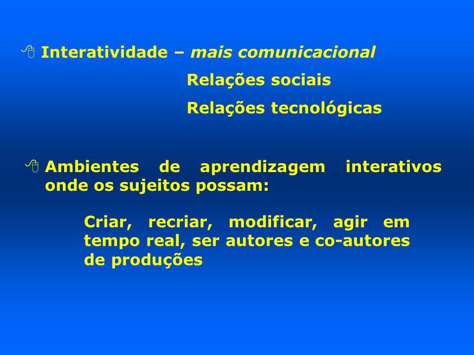  Interatividade – mais comunicacional Relações sociais Relações tecnológicas  Ambientes de aprendizagem interativos onde os sujeitos possam: Criar, recriar, modificar, agir em tempo real, ser autores e co-autores de produções