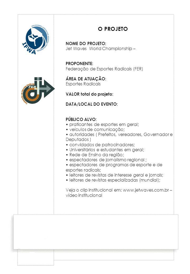 NOME DO PROJETO: Jet Waves World Championship – PROPONENTE: Federação de Esportes Radicais (FER) ÁREA DE ATUAÇÃO : Esportes Radicais VALOR total do pr