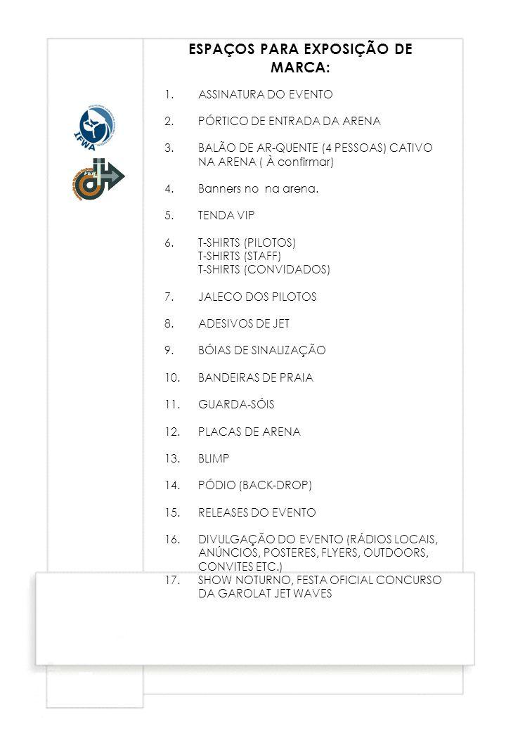 1.ASSINATURA DO EVENTO 2.PÓRTICO DE ENTRADA DA ARENA 3.BALÃO DE AR-QUENTE (4 PESSOAS) CATIVO NA ARENA ( À confirmar) 4.Banners no na arena. 5.TENDA VI