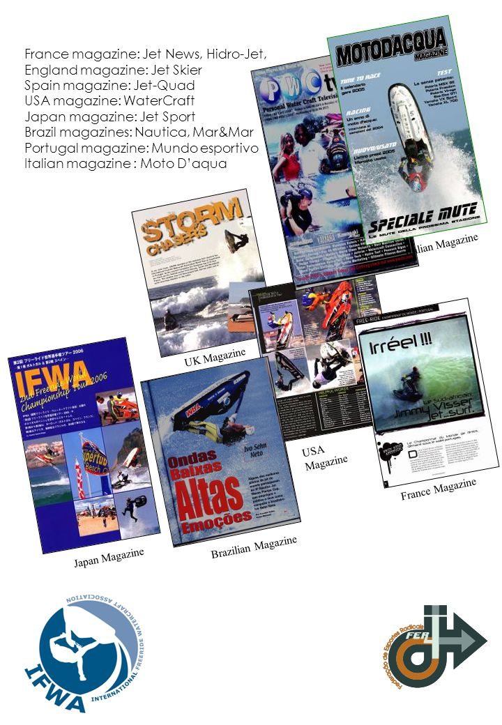 France magazine: Jet News, Hidro-Jet, England magazine: Jet Skier Spain magazine: Jet-Quad USA magazine: WaterCraft Japan magazine: Jet Sport Brazil m