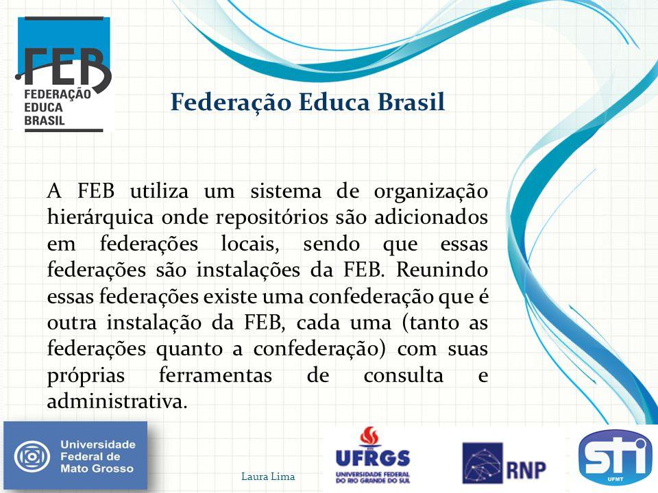 Federação Educa Brasil A FEB utiliza um sistema de organização hierárquica onde repositórios são adicionados em federações locais, sendo que essas fed
