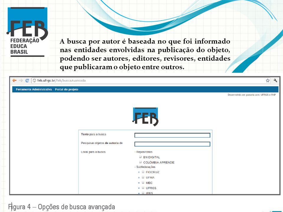 A busca por autor é baseada no que foi informado nas entidades envolvidas na publicação do objeto, podendo ser autores, editores, revisores, entidades