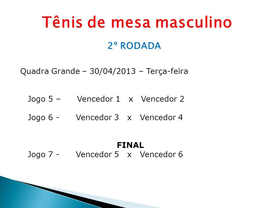 Tênis de mesa masculino 2º RODADA Quadra Grande – 30/04/2013 – Terça-feira Jogo 5 – Vencedor 1 x Vencedor 2 Jogo 6 - Vencedor 3 x Vencedor 4 FINAL Jog