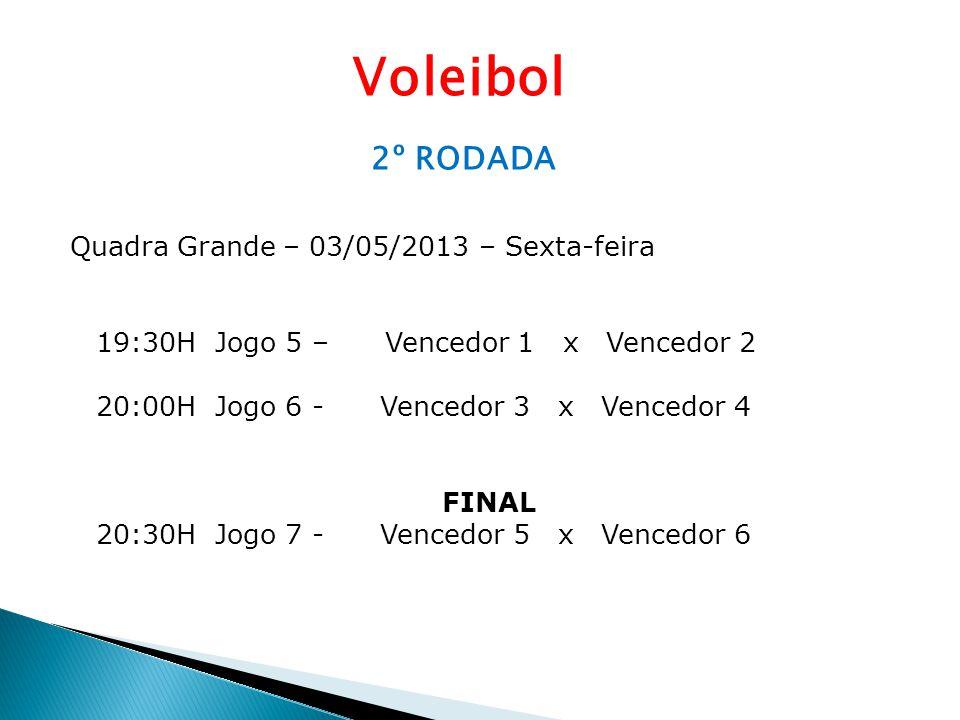 Voleibol 2º RODADA Quadra Grande – 03/05/2013 – Sexta-feira 19:30H Jogo 5 – Vencedor 1 x Vencedor 2 20:00H Jogo 6 - Vencedor 3 x Vencedor 4 FINAL 20:3