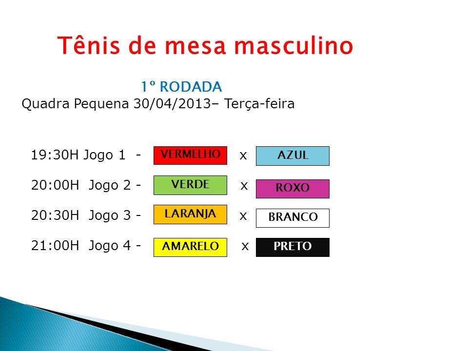 Tênis de mesa masculino 1º RODADA Quadra Pequena 30/04/2013– Terça-feira 19:30H Jogo 1 - Equipe A x Equipe B 20:00H Jogo 2 - Equipe C x Equipe D 20:30