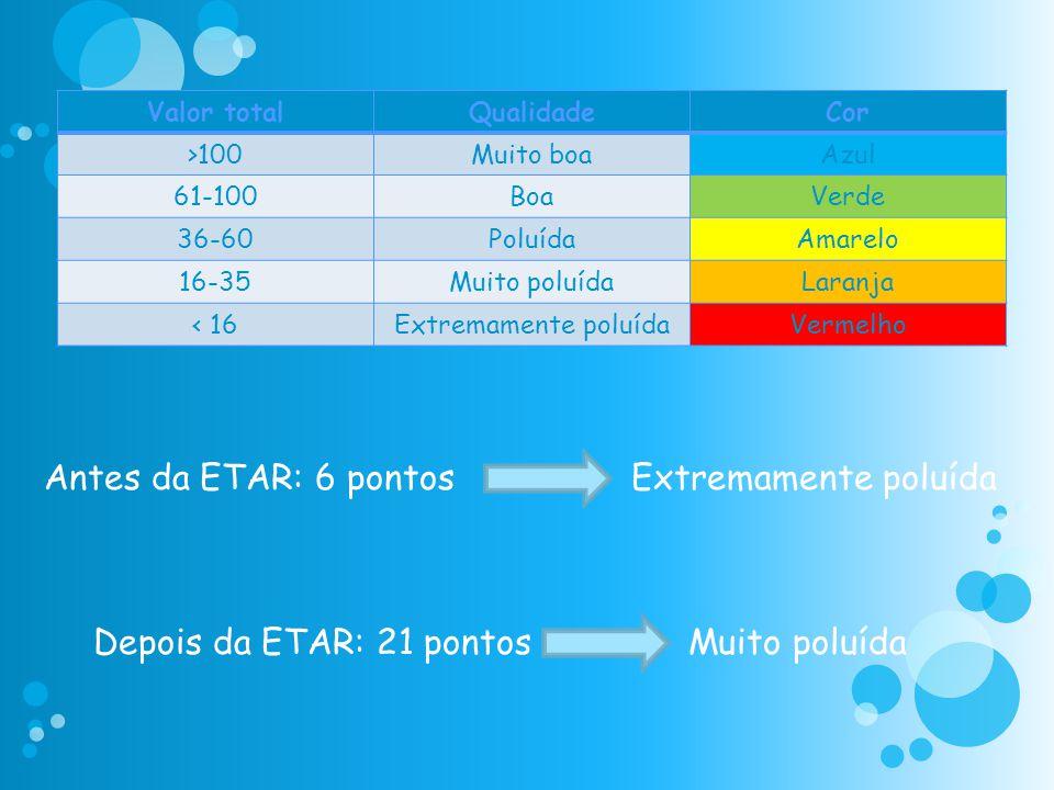 Antes da ETAR: 6 pontos Extremamente poluída Depois da ETAR: 21 pontos Muito poluída Valor totalQualidadeCor >100Muito boaAzul 61-100BoaVerde 36-60Pol