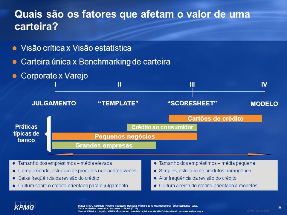9 © 2006 KPMG Brasil. © 2006 KPMG Corporate Finance, sociedade brasileira, membro da KPMG International, uma cooperativa suíça. Todos os direitos rese