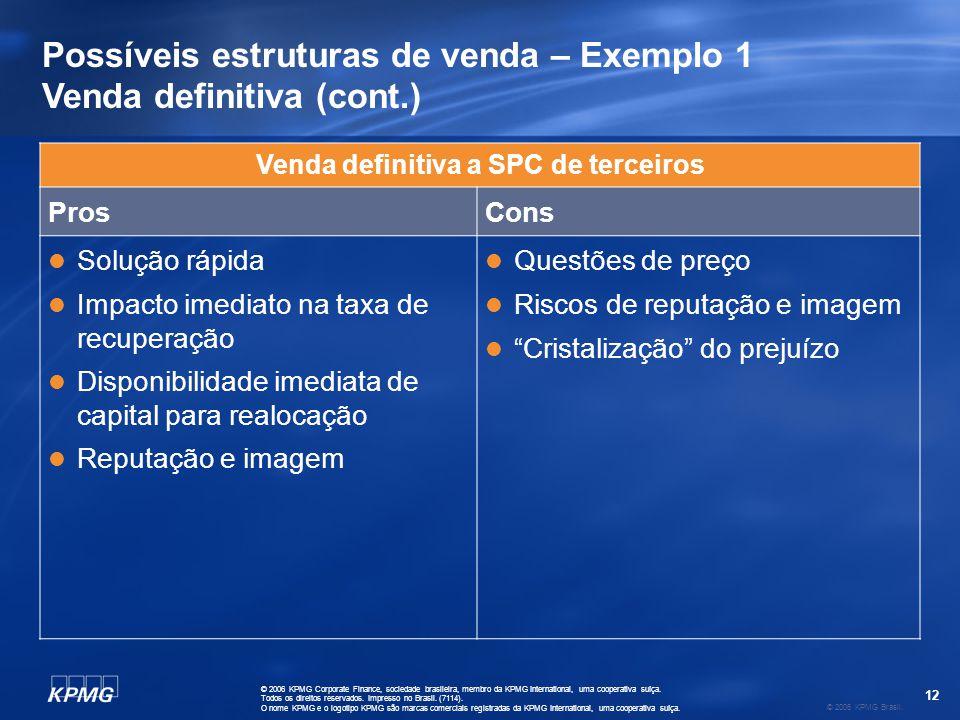 12 © 2006 KPMG Brasil. © 2006 KPMG Corporate Finance, sociedade brasileira, membro da KPMG International, uma cooperativa suíça. Todos os direitos res