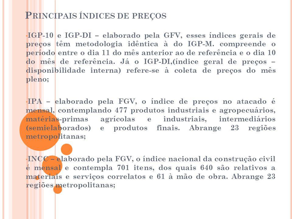 P RINCIPAIS ÍNDICES DE PREÇOS • IGP-10 e IGP-DI – elaborado pela GFV, esses índices gerais de preços têm metodologia idêntica à do IGP-M. compreende o