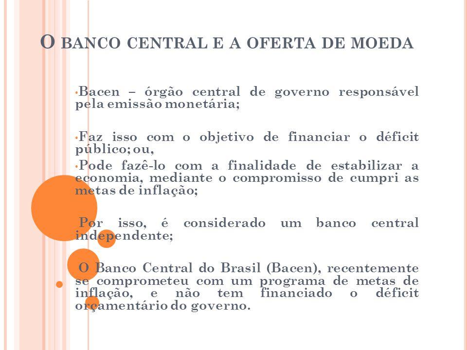 O BANCO CENTRAL E A OFERTA DE MOEDA • Bacen – órgão central de governo responsável pela emissão monetária; • Faz isso com o objetivo de financiar o dé