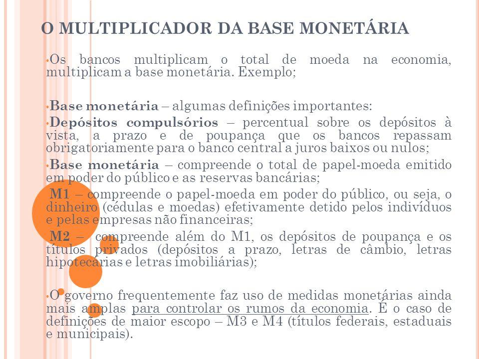 O MULTIPLICADOR DA BASE MONETÁRIA • Os bancos multiplicam o total de moeda na economia, multiplicam a base monetária. Exemplo; • Base monetária – algu