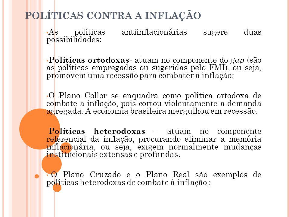 POLÍTICAS CONTRA A INFLAÇÃO • As políticas antiinflacionárias sugere duas possibilidades: • Políticas ortodoxas- atuam no componente do gap (são as po