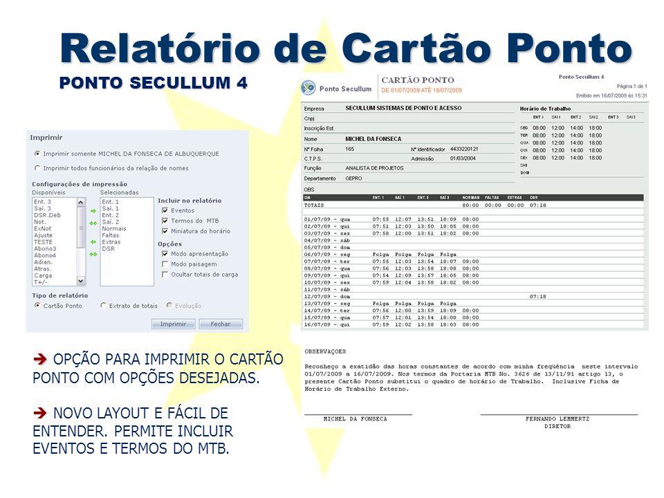 Relatório de Cartão Ponto PONTO SECULLUM 4   OPÇÃO PARA IMPRIMIR O CARTÃO PONTO COM OPÇÕES DESEJADAS.  NOVO LAYOUT E FÁCIL DE ENTENDER. PERMITE INC