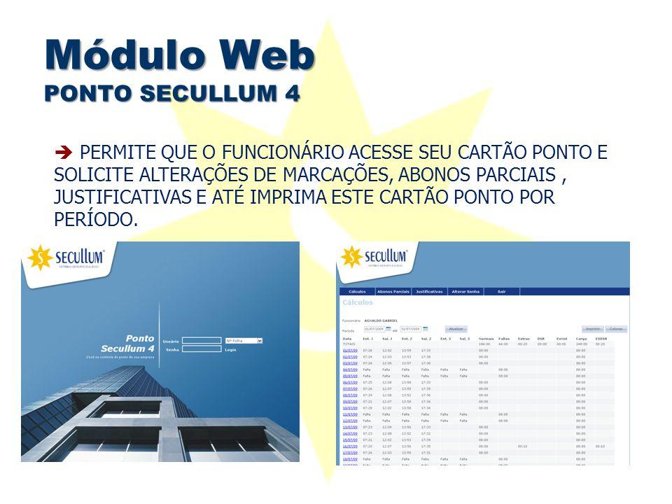 Módulo Web PONTO SECULLUM 4  PERMITE QUE O FUNCIONÁRIO ACESSE SEU CARTÃO PONTO E SOLICITE ALTERAÇÕES DE MARCAÇÕES, ABONOS PARCIAIS, JUSTIFICATIVAS E