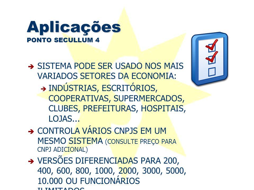 Aplicações PONTO SECULLUM 4  SISTEMA PODE SER USADO NOS MAIS VARIADOS SETORES DA ECONOMIA:  INDÚSTRIAS, ESCRITÓRIOS, COOPERATIVAS, SUPERMERCADOS, CL