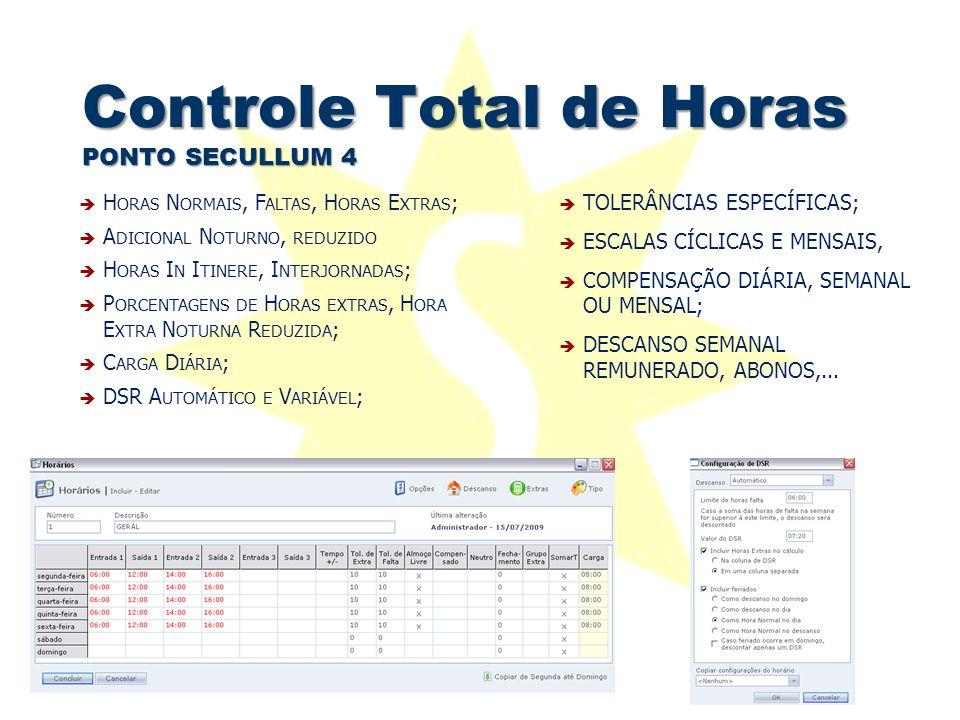 Controle Total de Horas PONTO SECULLUM 4  TOLERÂNCIAS ESPECÍFICAS;  ESCALAS CÍCLICAS E MENSAIS,  COMPENSAÇÃO DIÁRIA, SEMANAL OU MENSAL;  DESCANSO