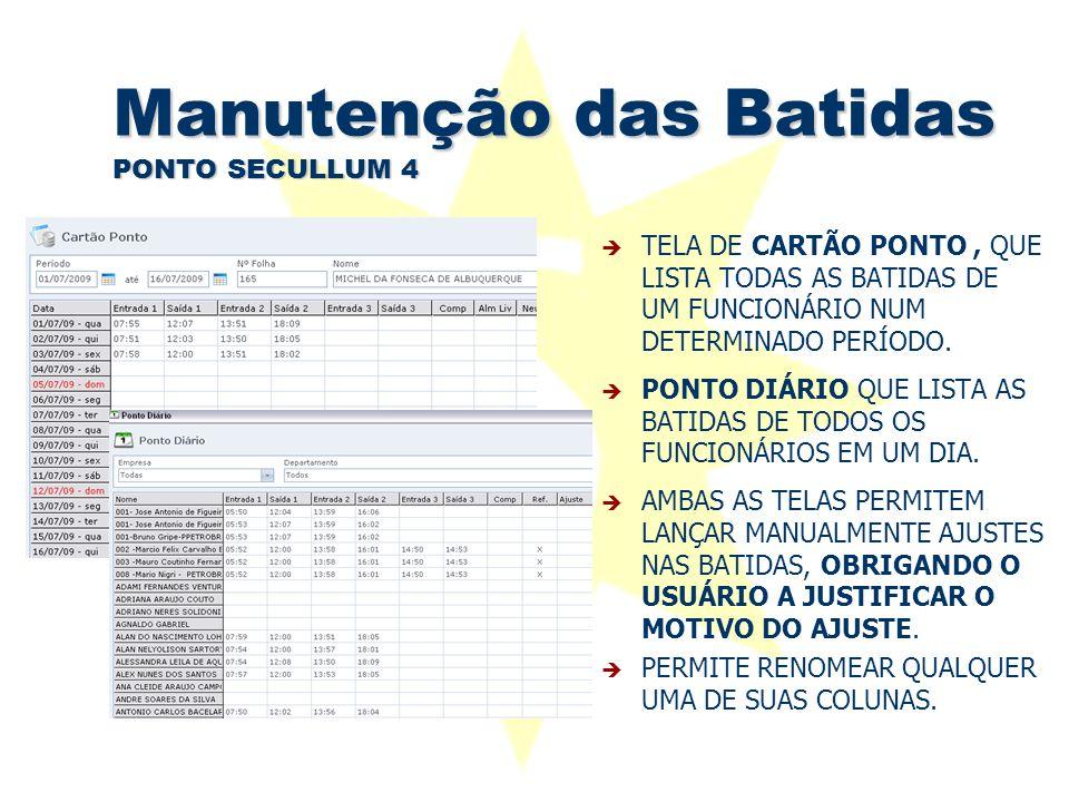 Manutenção das Batidas PONTO SECULLUM 4  TELA DE CARTÃO PONTO, QUE LISTA TODAS AS BATIDAS DE UM FUNCIONÁRIO NUM DETERMINADO PERÍODO.  PONTO DIÁRIO Q