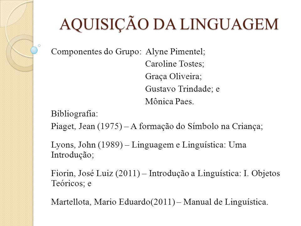 AQUISIÇÃO DA LINGUAGEM Componentes do Grupo: Alyne Pimentel; Caroline Tostes; Graça Oliveira; Gustavo Trindade; e Mônica Paes. Bibliografia: Piaget, J