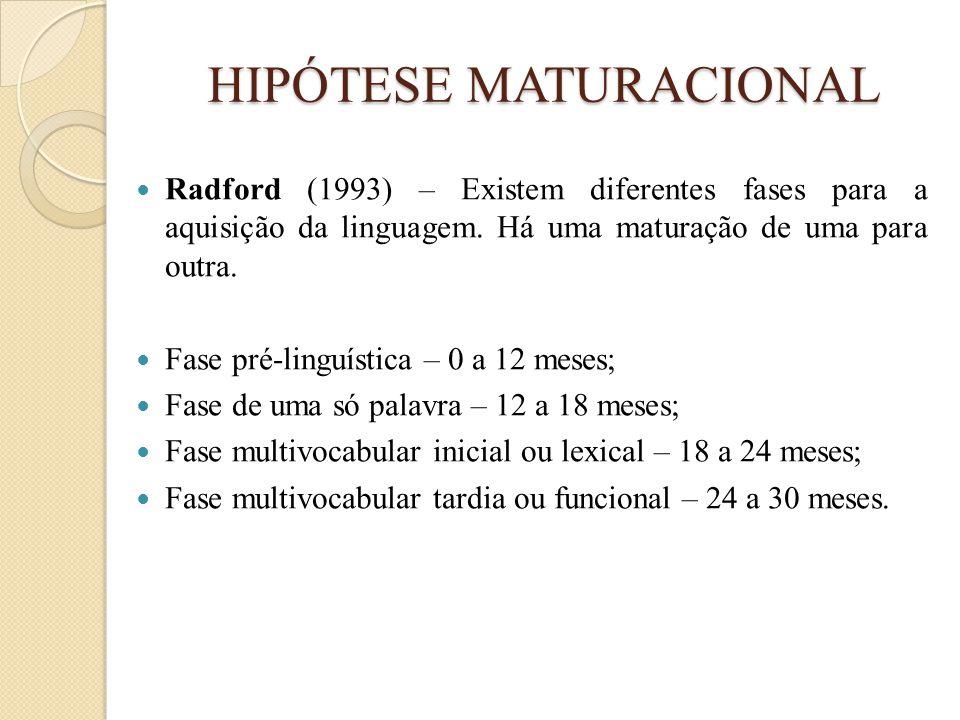 HIPÓTESE MATURACIONAL  Radford (1993) – Existem diferentes fases para a aquisição da linguagem. Há uma maturação de uma para outra.  Fase pré-linguí