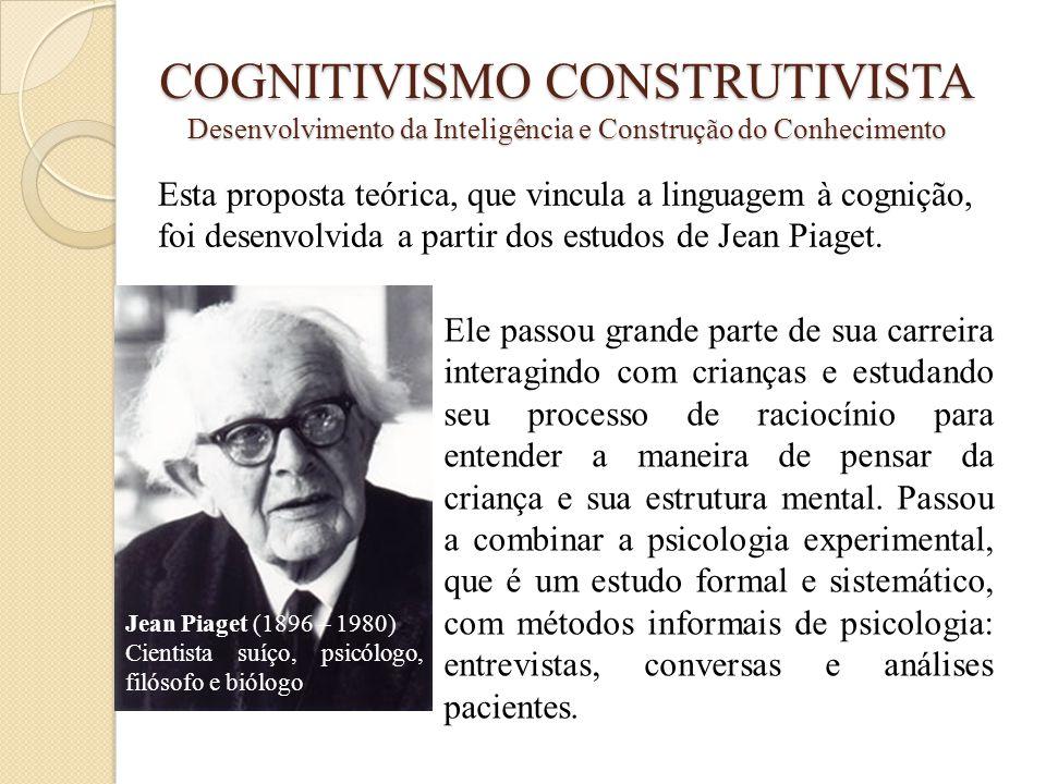 COGNITIVISMO CONSTRUTIVISTA Desenvolvimento da Inteligência e Construção do Conhecimento Esta proposta teórica, que vincula a linguagem à cognição, fo