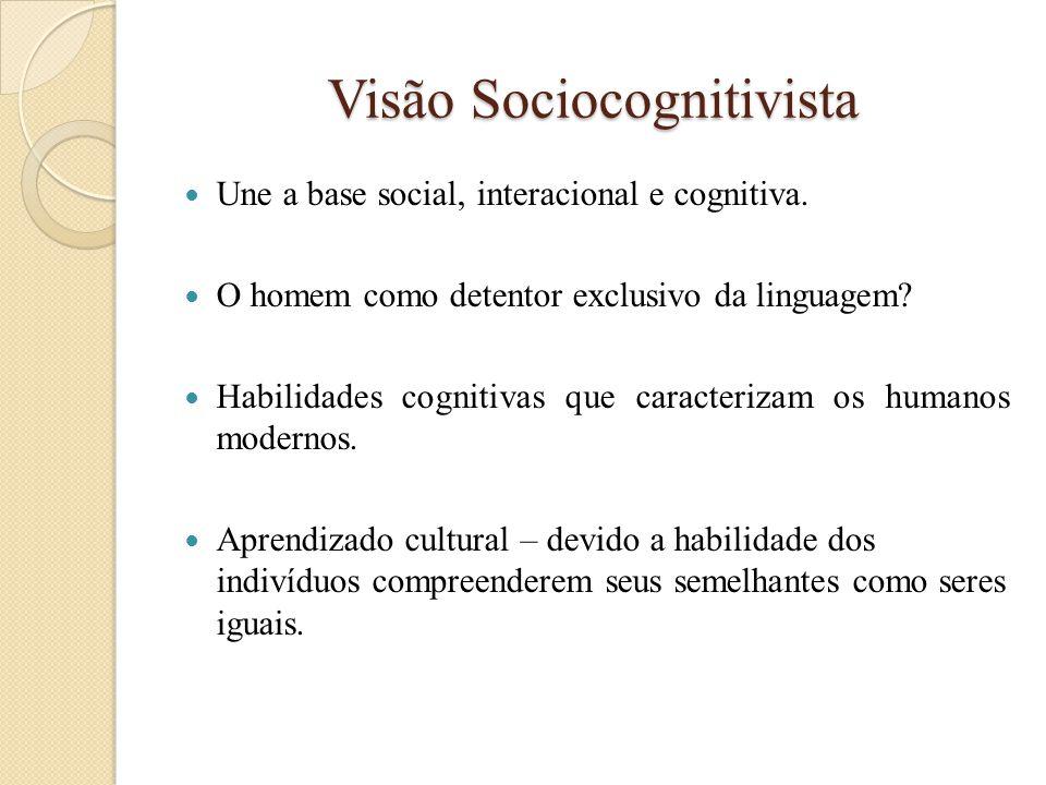 Visão Sociocognitivista  Une a base social, interacional e cognitiva.  O homem como detentor exclusivo da linguagem?  Habilidades cognitivas que ca