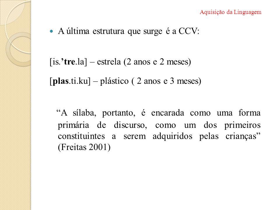 """ A última estrutura que surge é a CCV: [is.'tre.la] – estrela (2 anos e 2 meses) [plas.ti.ku] – plástico ( 2 anos e 3 meses) """"A sílaba, portanto, é e"""