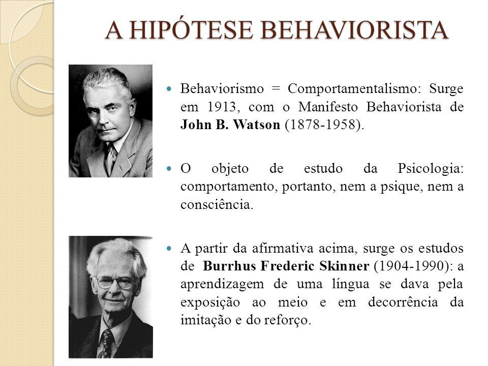 A HIPÓTESE BEHAVIORISTA  Behaviorismo = Comportamentalismo: Surge em 1913, com o Manifesto Behaviorista de John B. Watson (1878-1958).  O objeto de