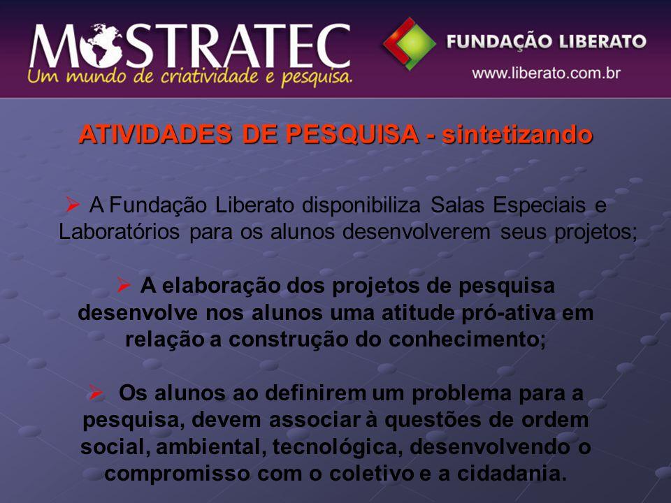 ATIVIDADES DE PESQUISA - sintetizando  A Fundação Liberato disponibiliza Salas Especiais e Laboratórios para os alunos desenvolverem seus projetos; 