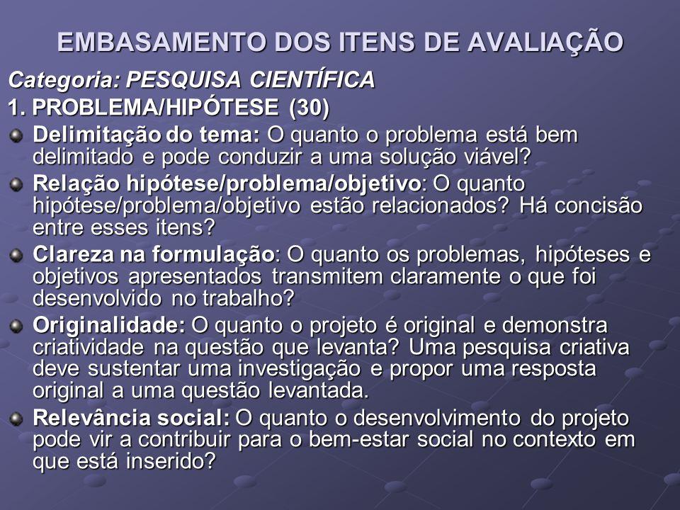 EMBASAMENTO DOS ITENS DE AVALIAÇÃO Categoria: PESQUISA CIENTÍFICA 1. PROBLEMA/HIPÓTESE (30) Delimitação do tema: O quanto o problema está bem delimita