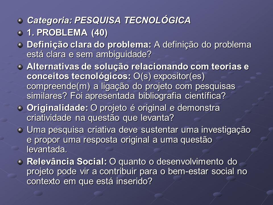 Categoria: PESQUISA TECNOLÓGICA 1. PROBLEMA (40) Definição clara do problema: A definição do problema está clara e sem ambiguidade? Alternativas de so