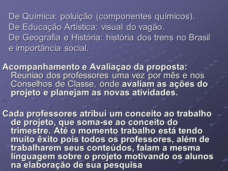 De Química: poluição (componentes químicos). De Educação Artística: visual do vagão. De Geografia e História: história dos trens no Brasil e importânc