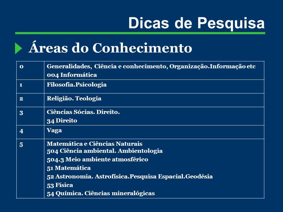 Dicas de Pesquisa Áreas do Conhecimento 0Generalidades, Ciência e conhecimento, Organização.Informação etc 004 Informática 1Filosofia.Psicologia 2Religião.