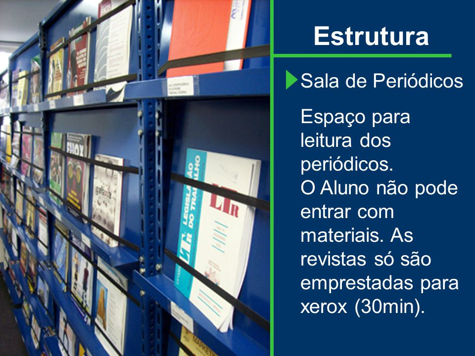 Estrutura Sala de Periódicos Espaço para leitura dos periódicos.