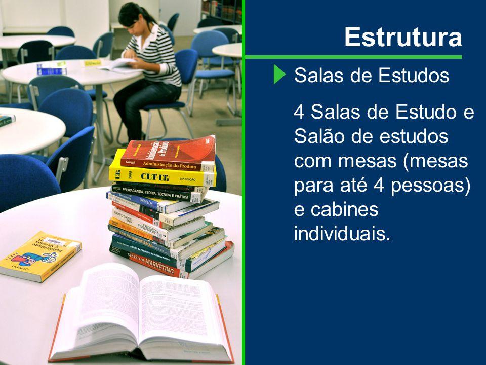 Estrutura Salas de Estudos 4 Salas de Estudo e Salão de estudos com mesas (mesas para até 4 pessoas) e cabines individuais.