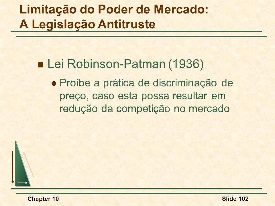 Chapter 10Slide 102  Lei Robinson-Patman (1936)  Proíbe a prática de discriminação de preço, caso esta possa resultar em redução da competição no mercado Limitação do Poder de Mercado: A Legislação Antitruste