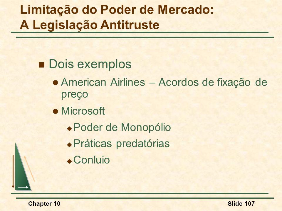 Chapter 10Slide 107  Dois exemplos  American Airlines – Acordos de fixação de preço  Microsoft  Poder de Monopólio  Práticas predatórias  Conluio Limitação do Poder de Mercado: A Legislação Antitruste