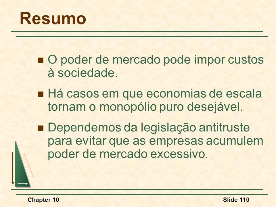 Chapter 10Slide 110 Resumo  O poder de mercado pode impor custos à sociedade.