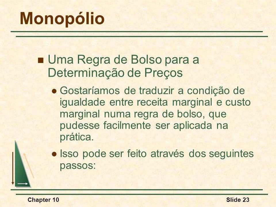 Chapter 10Slide 23 Monopólio  Uma Regra de Bolso para a Determinação de Preços  Gostaríamos de traduzir a condição de igualdade entre receita marginal e custo marginal numa regra de bolso, que pudesse facilmente ser aplicada na prática.