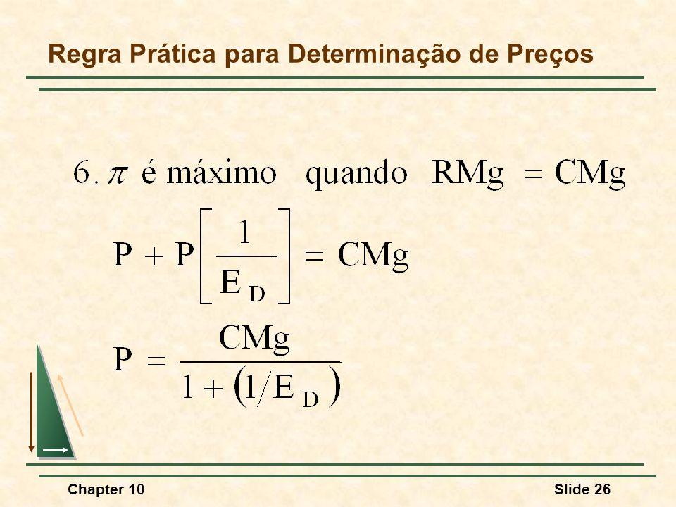 Chapter 10Slide 26 Regra Prática para Determinação de Preços