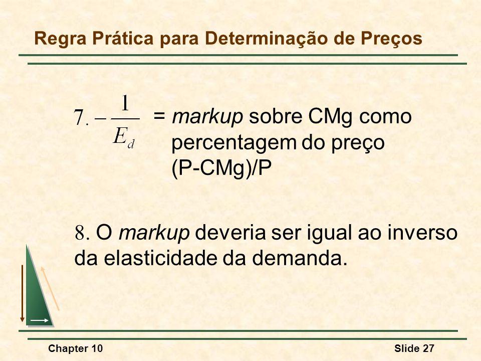 Chapter 10Slide 27 = markup sobre CMg como percentagem do preço (P-CMg)/P Regra Prática para Determinação de Preços 8.