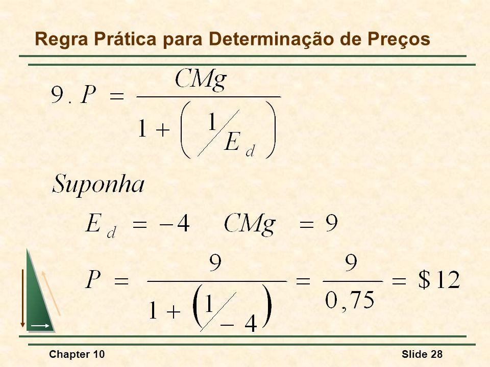 Chapter 10Slide 28 Regra Prática para Determinação de Preços