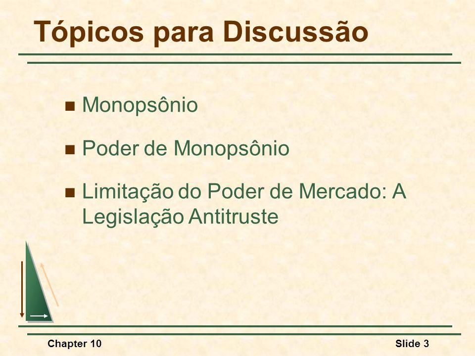 Chapter 10Slide 84 Monopólio e Monopsônio Quantidade RMe RMg CMg $/Q QCQC PCPC Monopólio Obs.: RMg = CMg; RMe > CMg; P > CMg P* Q*