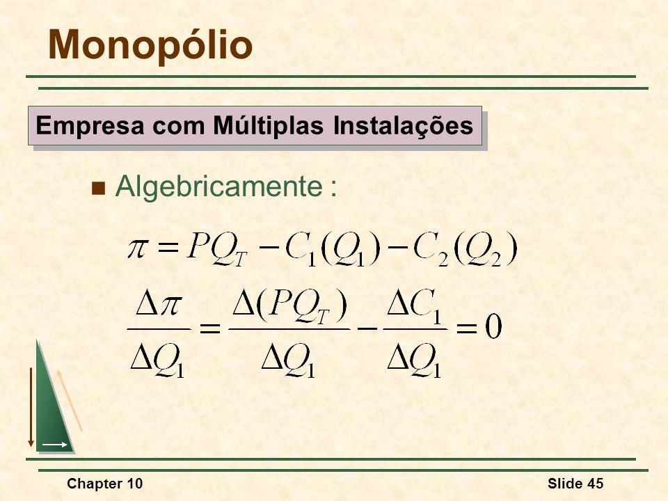 Chapter 10Slide 45 Monopólio  Algebricamente : Empresa com Múltiplas Instalações