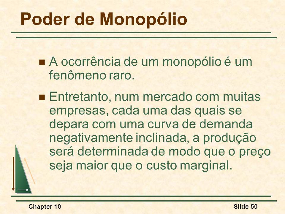 Chapter 10Slide 50 Poder de Monopólio  A ocorrência de um monopólio é um fenômeno raro.